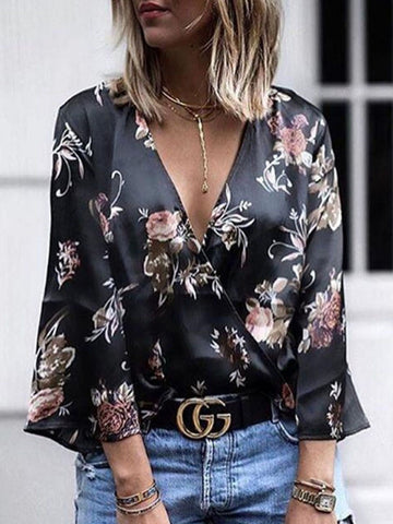 PMS Long Sleeve Blouses Dark Blue / s Deep V Neck  Floral Printed  Bell Sleeve Blouses