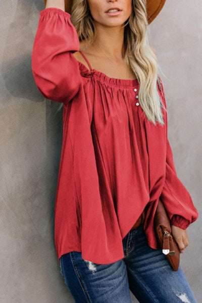 PMS Long Sleeve Blouses Red / s Spaghetti Strap  Plain  Blouses