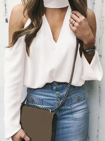 PMS Long Sleeve Blouses White / m Sexy Deep V Strapless Blouse Top