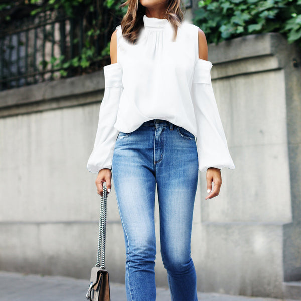 PMS Long Sleeve Blouses White / s 2019 Spring Long Sleeve Off Shoulder Blouse