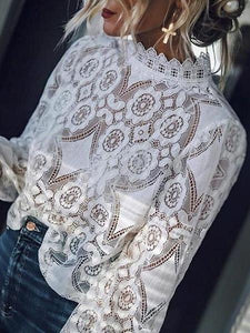 PMS Long Sleeve Blouses White / s Band Collar  Decorative Lace  Lace Plain  Blouses