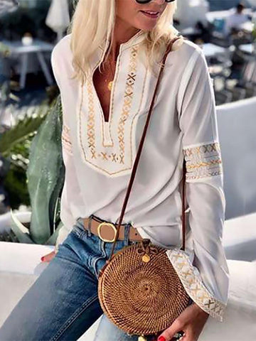 PMS Long Sleeve Blouses White / s Casual Long Sleeve Splicing Printed Colour Top