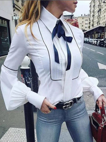 PMS Long Sleeve Blouses White / s Fashion Lace-Up Pure Colour Bishop Sleeve Blouse