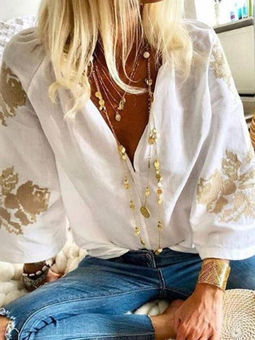 PMS Long Sleeve Blouses White / s Fashion V Neck 3/4 Sleeve Printed Elegant Blouse