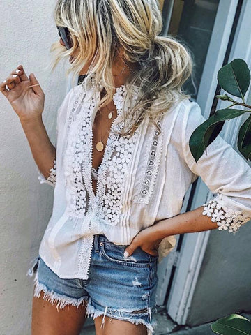 PMS Long Sleeve Blouses White / s High Neck  Single Breasted  Patchwork Plain  Blouses