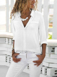 PMS Long Sleeve Blouses White / s Lapel Long Sleeve Plain Elegant Blouses