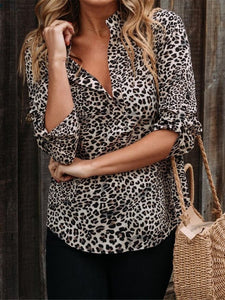 PMS Long Sleeve Shirts Coffee / s Fashionable Temperament Leopard Print Shirt