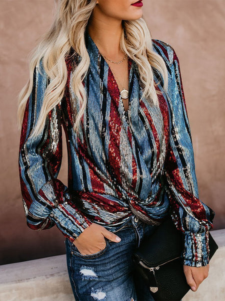 PMS Long Sleeve Shirts Detail / s Fashion V Neck Loose Striped Sequins Shirt