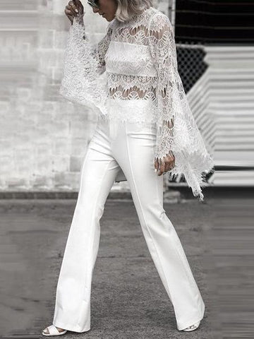 PMS Long Sleeve Shirts Detail / s Sexy Lace Long Sleeve Boat Neck Shirt