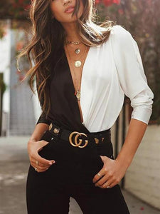 PMS Long Sleeve Shirts White Black / s Casual Sexy Deep V   Neck Loose Color Collision  Long Sleeve   Shirt