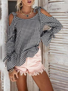 PMS Long Sleeve Shirts White Black / s Open Shoulder  Bowknot  Checkered Shirts