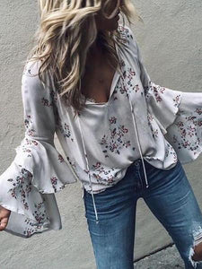 PMS Long Sleeve Shirts White / s Casual Sexy V Neck Stacked Horn Sleeves Floral Print Shirt