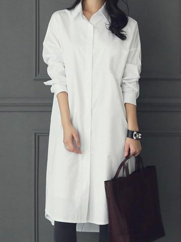 PMS Long Sleeve Shirts White / s Fashion Casual Pure Color Long Shirt