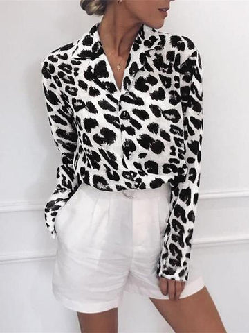 PMS Long Sleeve Shirts White / s Fashion Leopard Print Long Sleeve Chiffon Shirt