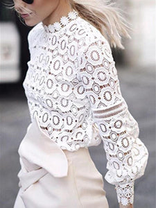 PMS Long Sleeve Shirts White / s Hollow Lace Lantern Sleeves Fashion Tops