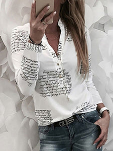PMS Long Sleeve Shirts White / s Letters Shirts & Blouses