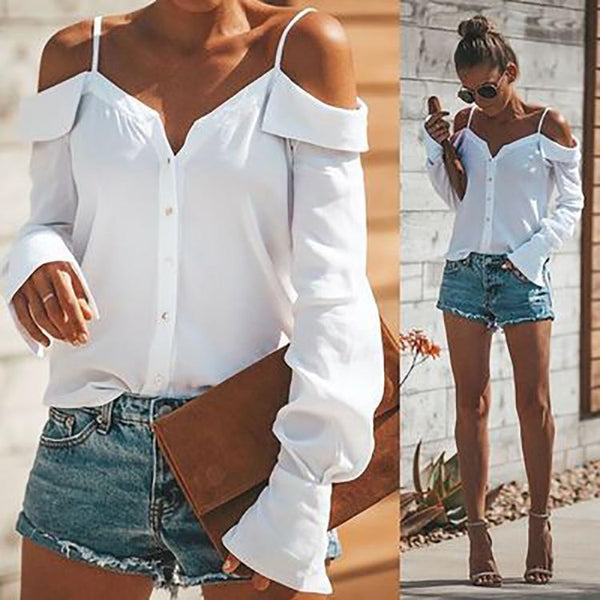 PMS Long Sleeve Shirts White / s Sexy Off Shoulder Pure Color Long Sleeve Chiffon Strap Shirt