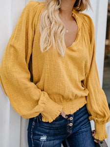 PMS Long Sleeve Shirts Yellow / s Fashion V Neck Pure   Colour Top