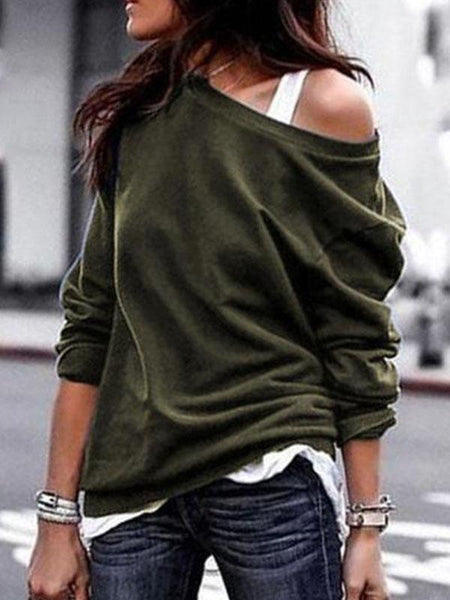 PMS Long Sleeve T-Shirts Army Green / s One Shouder Casual Soft Long Sleeve T-Shirt