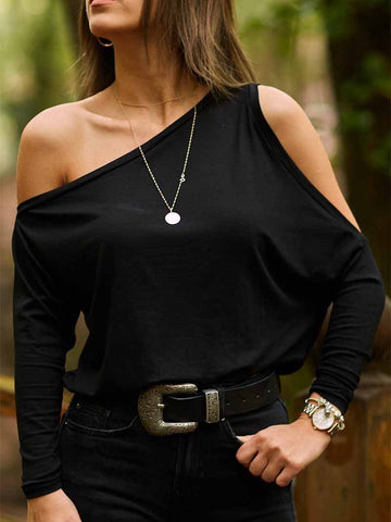 PMS Long Sleeve T-Shirts Black / s Fashion Pure Color Sloping Shoulder T Shirt