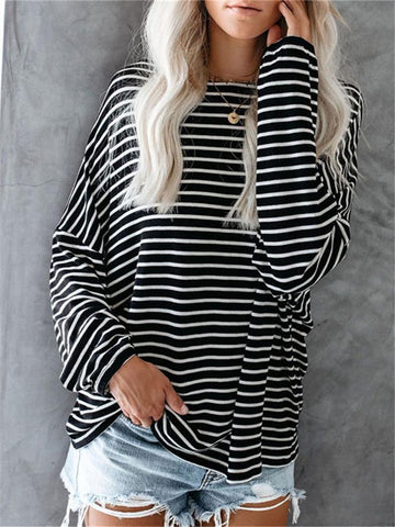 PMS Long Sleeve T-Shirts Fashion Striped Bat Sleeve Loose T-Shirts