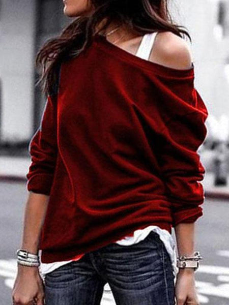 PMS Long Sleeve T-Shirts Red / s One Shouder Casual Soft Long Sleeve T-Shirt