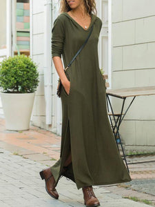 PMS Maxi Dress Army Green / s Casual Pure Color V Neck Long And Thin Hooded Maxi Dress