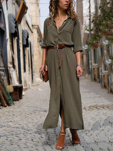 PMS Maxi Dress army_green / s Fashionable Loose Long Sleeved Maxi Dress