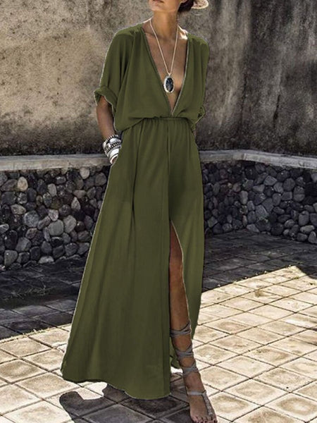 PMS Maxi Dress army_green / s V-Neck  Elastic Waist  Plain Maxi Dress
