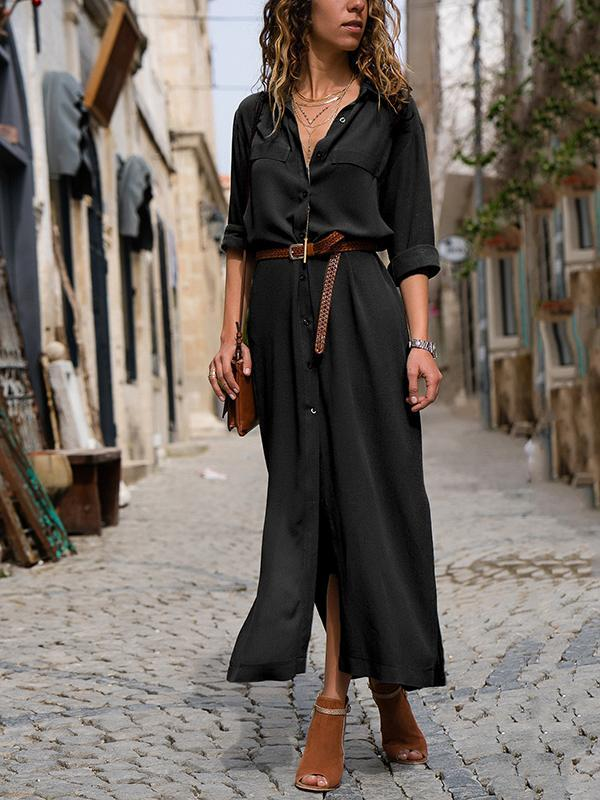PMS Maxi Dress black / s Fashionable Loose Long Sleeved Maxi Dress