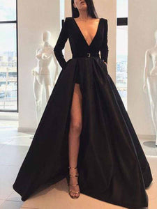PMS Maxi Dress Black / s Sexy Long-Sleeved Waist Open Slit Maxi Dress