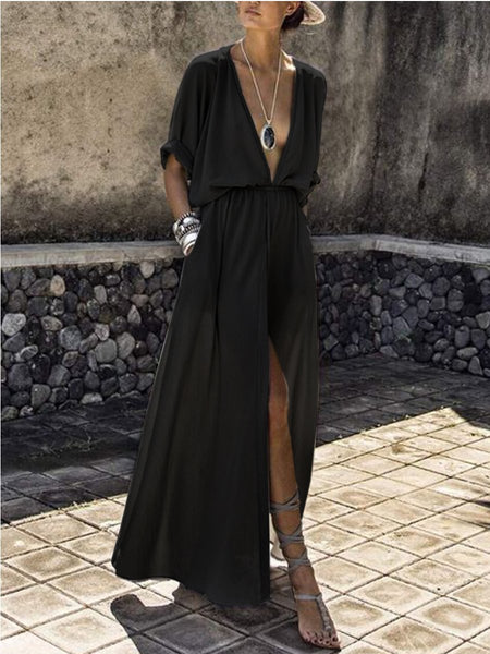PMS Maxi Dress black / s V-Neck  Elastic Waist  Plain Maxi Dress