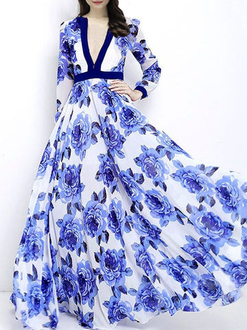 PMS Maxi Dress blue / s Fashion V-Neck  Printed Maxi Dress