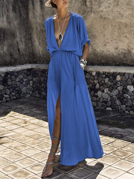 PMS Maxi Dress blue / s V-Neck  Elastic Waist  Plain Maxi Dress
