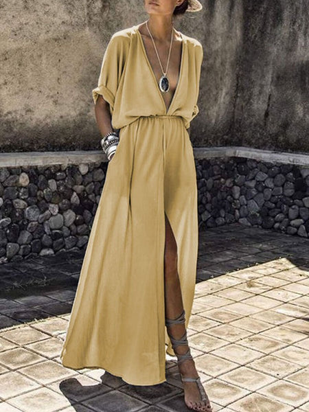 PMS Maxi Dress gold / s V-Neck  Elastic Waist  Plain Maxi Dress