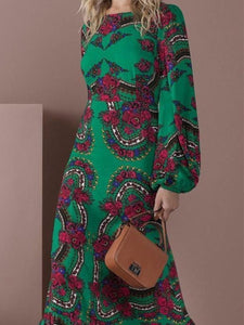 PMS Maxi Dress Green / s Elegant Green Long-Sleeved Floral Printed Maxi Dress