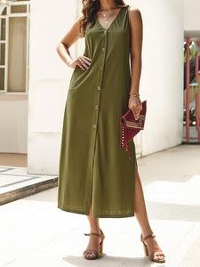 PMS Maxi Dress Green / s Pure Color Single Buckle Long Dress