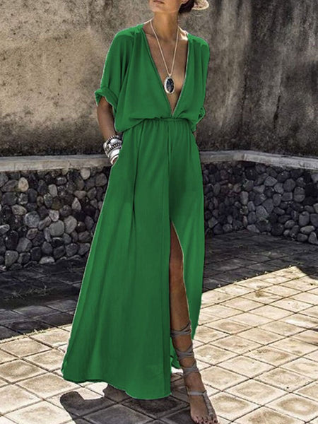 PMS Maxi Dress green / s V-Neck  Elastic Waist  Plain Maxi Dress