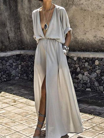 PMS Maxi Dress light_gray / s V-Neck  Elastic Waist  Plain Maxi Dress