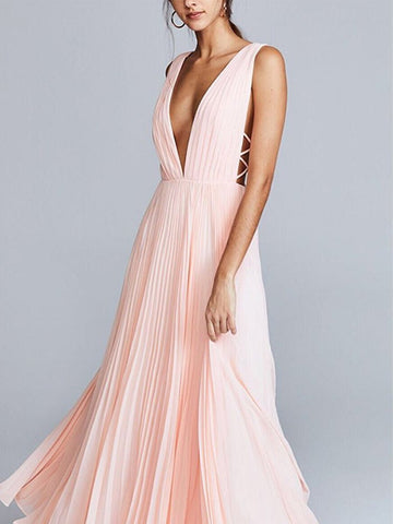 PMS Maxi Dress pink / s Pink Sexy Fashion Sleeveless Maxi Dress