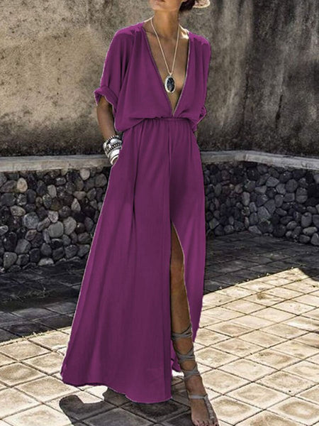PMS Maxi Dress purple / s V-Neck  Elastic Waist  Plain Maxi Dress