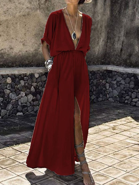 PMS Maxi Dress red / s V-Neck  Elastic Waist  Plain Maxi Dress