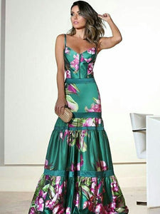 PMS Maxi Dress same_as_photo / s Fashion Sexy Floral Plunge Ruffles Layered Hem Evening Dress