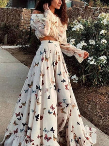 PMS Maxi Dress white / s Sexy Off Shoulder Butterflies Floral Printed Maxi Dress
