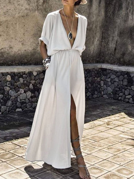 PMS Maxi Dress white / s V-Neck  Elastic Waist  Plain Maxi Dress