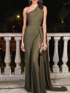 PMS Maxi Dresses Army Green / s Sexy Plain Slim Off Shoulder Fork Evening Dress