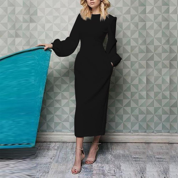 PMS Maxi Dresses Black / l Elegant Plain Lantern Sleeve Round Neck Maxi Dress