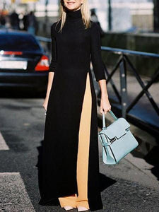 PMS Maxi Dresses Black / s Fashion Pure Color Open Long Sleeves Maxi Dress