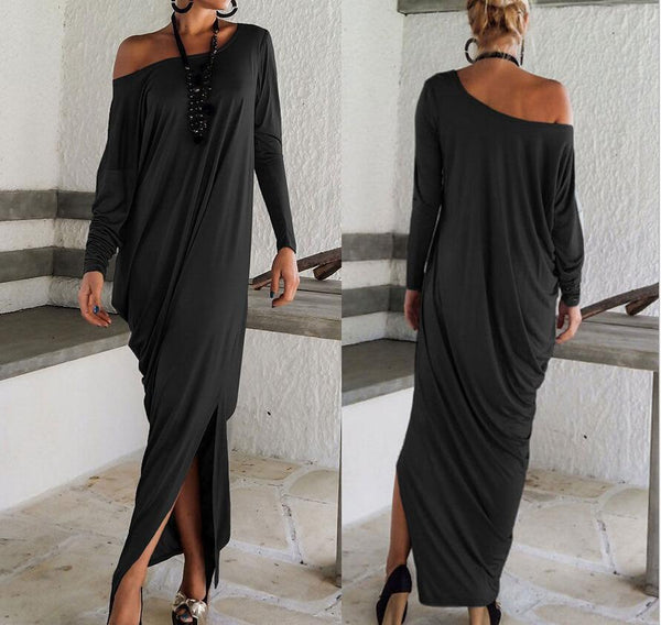 PMS Maxi Dresses Black / s One Shoulder Slit Long Sleeve Maxi Dresses