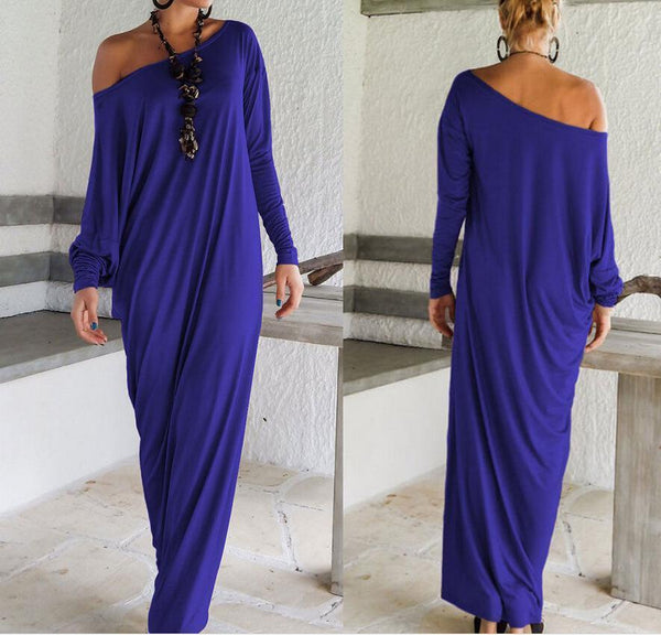 PMS Maxi Dresses Blue / s One Shoulder Slit Long Sleeve Maxi Dresses